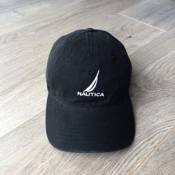 Nautica Dad Hat Adjustable Strapback Black Cap 39a23d1b590